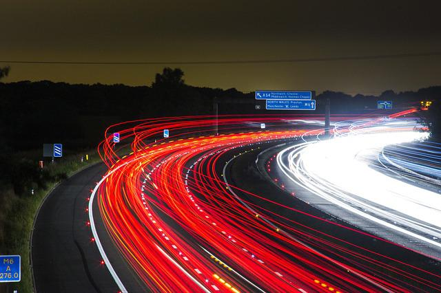 Traffic, Highway, Lights, Night, Road, Long Exposure