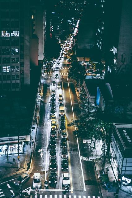 Cars, Road, Traffic, Night, Street, Skyscrapers, Motion