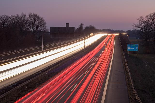 Transport System, Road, Highway, Traffic, Dusk