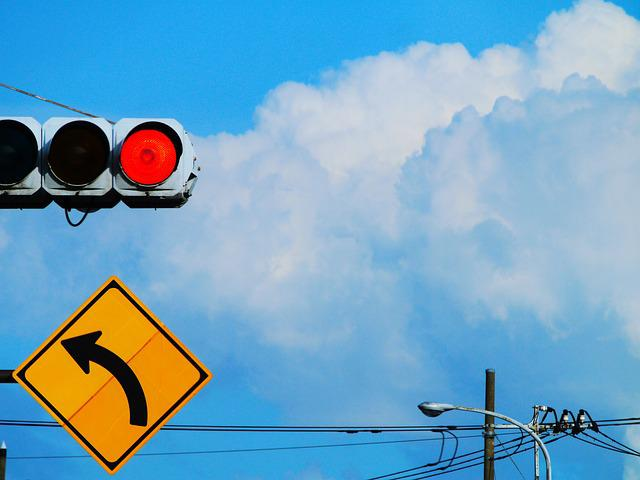 Red Light, Traffic Signs, Curve, Yellow, Red, Blue Sky