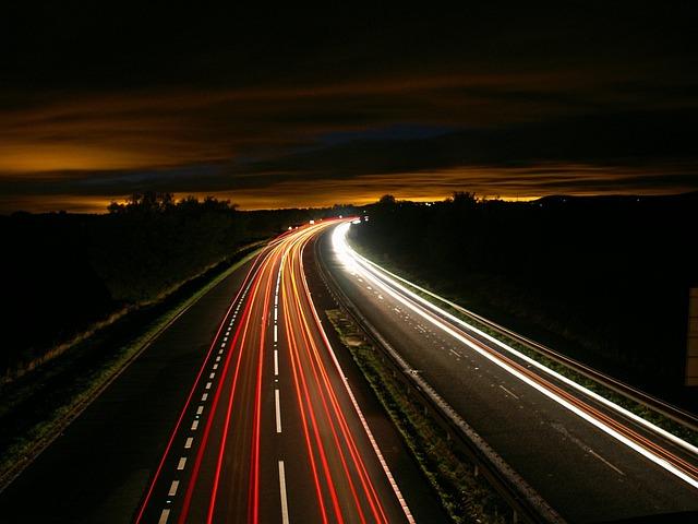 Highway, Traffic, Light, Motion, Long Exposure, Street