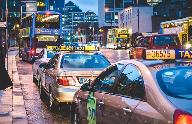 Taxi, Traffic, Night, Traffic Jam, Taxi Stand