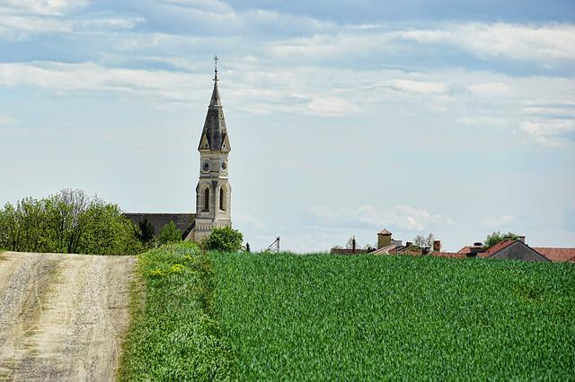 Lane, Church, Steeple, Trail, Landscape, Promenade