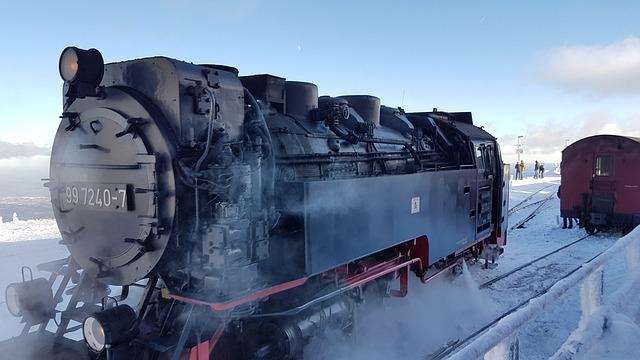 Horizontal, Winter, Railway Line, Train, Snow, Steam