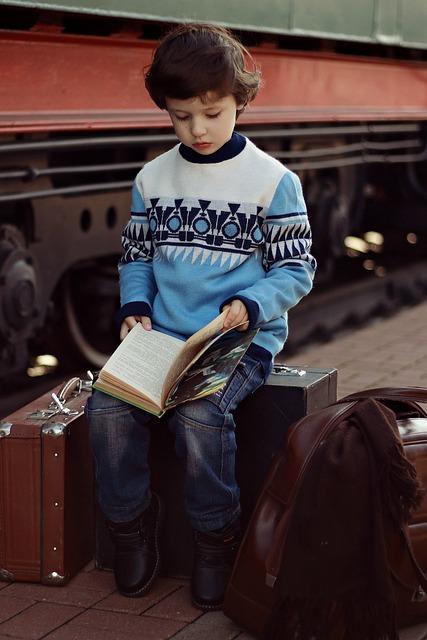Boy, Suitcases, Books, Train, Reads, One, Portrait