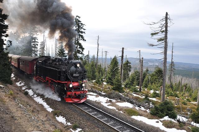 Brocken Railway, Train, Smoke, Winter, Rails, Resin