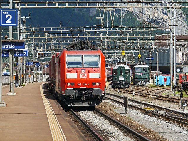 Switzerland, Train Station In Erstfeld, Track Climb