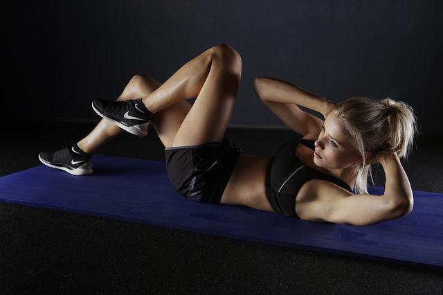 Woman, Crunches, Sport, Training, Exercise, Fit