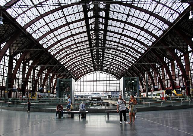 Railway Station, Concourse, Hall, Trains, Train