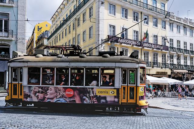Tram, Lisbon, Portugal, Europe, Old Town