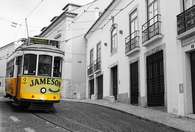 Tram, Yellow, Lisbon