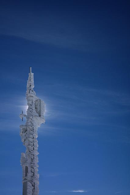 Transmission Tower, Radio Tower, Iced, Snow, Frozen