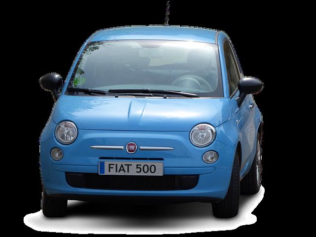 Car, Transparent Background, Fiat, Fiat 500, Blue Car