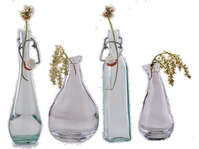 Glass Bottle, Vase, Close, Glass, Transparent, Deco