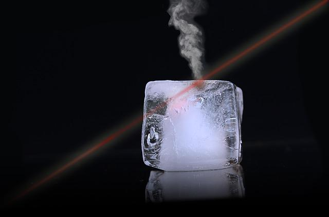 Ice, Ice Cubes, Laser, Laser Beam, Steam, Transparent