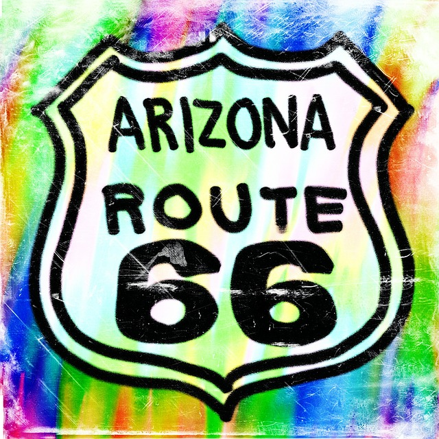 Painted, Sign, Route 66, Arizona, Road Sign, Transport