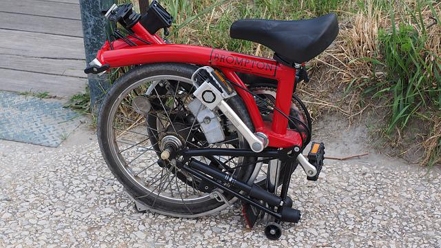 Folding Bike, Bike, Wheel, Transport, Red