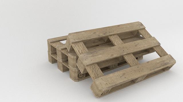Pallet, Goods, Freighter, Transport, Wood, Render