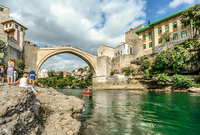 Architecture, Travel, Water, Old, City, Mostar, Bosnia