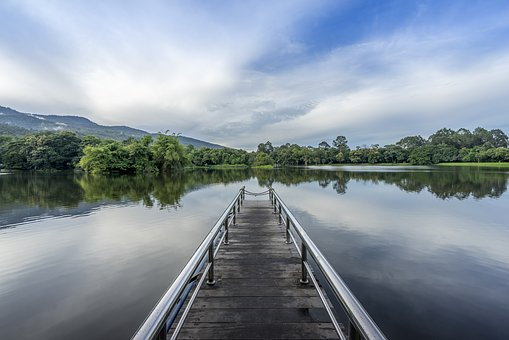Lake, Bridge, Path, Dock, Landscape, Travel, Nature