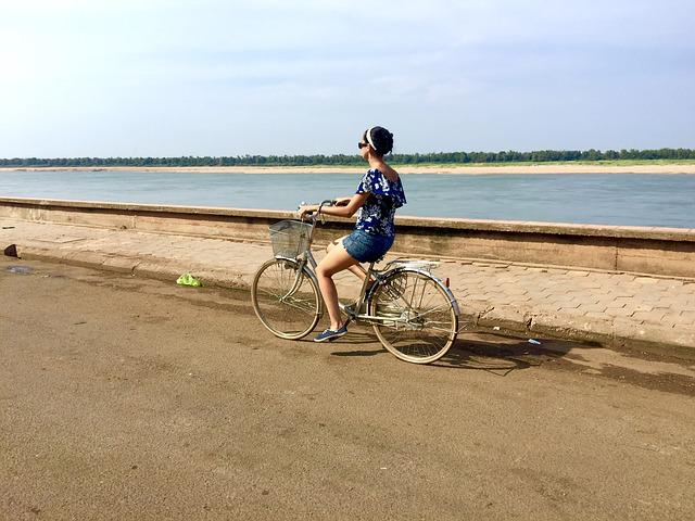Mekong-river, Bicycle, Holiday, Asia, Travel, River
