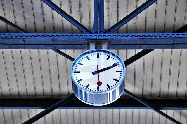 Railway Station, Clock, Business, Modern, Travel, Steel