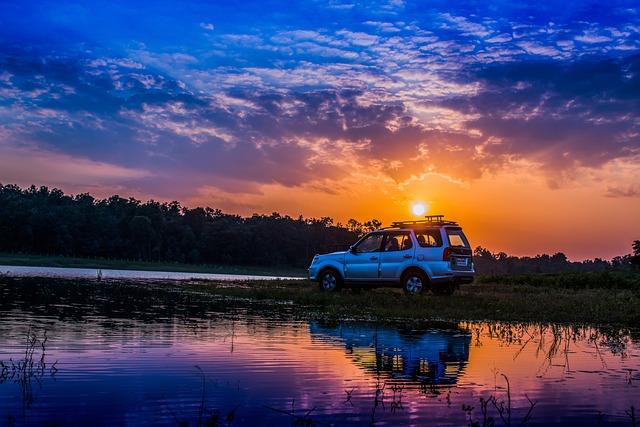 Car, Sunset, Off-road, Travel, Vehicle, Transportation