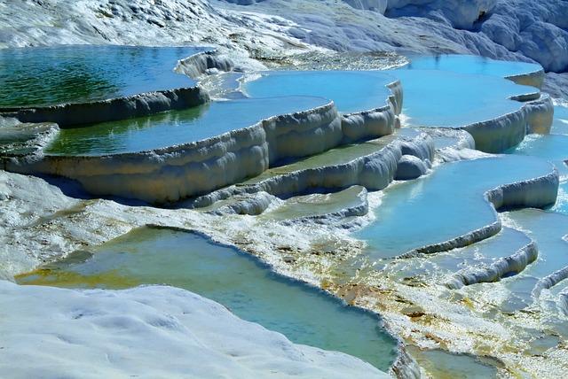 Pool, Natural, Reflection, Travertine, Geology, Turkey