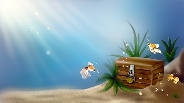 Chest, Treasure, Sea, Fish, Drawing, Pirates, Gold