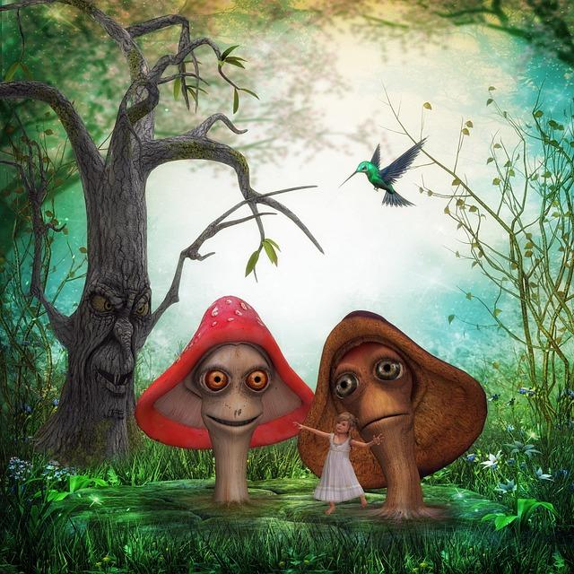Tree, Wood, Mushrooms, Girl, Child, Bird, Cheerful