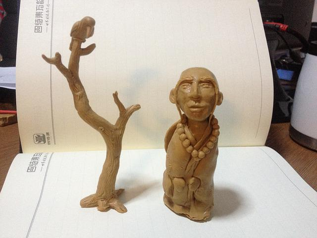 Clay Sculpture, Tree, Buddhist Monk