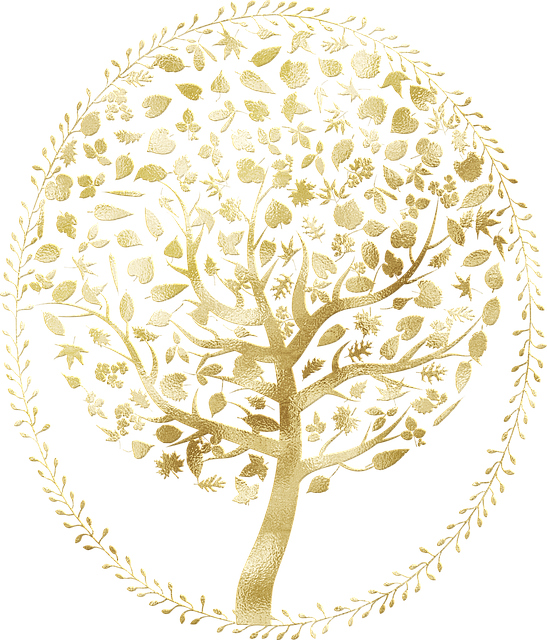 Gold Tree Of Life, Tree With Roots, Gold Foil, Tree