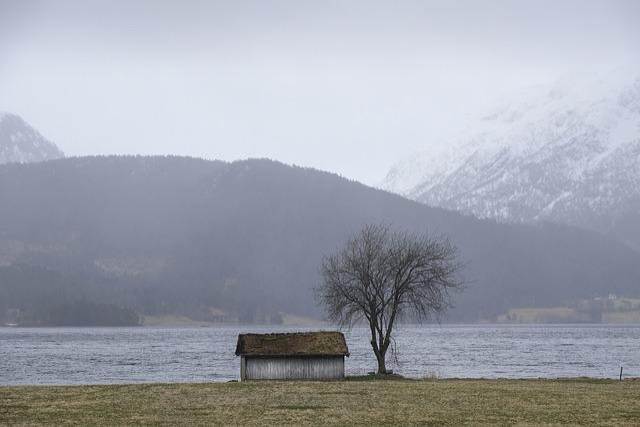 Barn, Fog, Lake, Landscape, Mountain, Nature, Tree