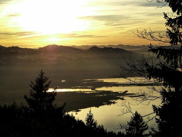 Lake Constance, Bregenz, Sunset, Tree, Mountains