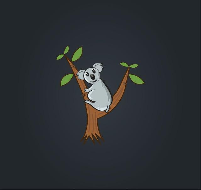 Koala, On, Tree, Blue Tree