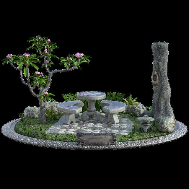 Fairy, Garden, Tree, Bush, Flowers, Furniture, Patio