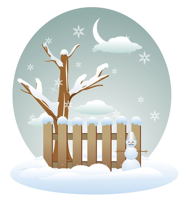 Winter, Tree, Fence, Snow, Snowflakes, Snowing, Snowman