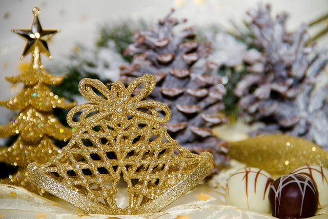 Christmas, Bell, Gold, Chocolate, Tree, Star