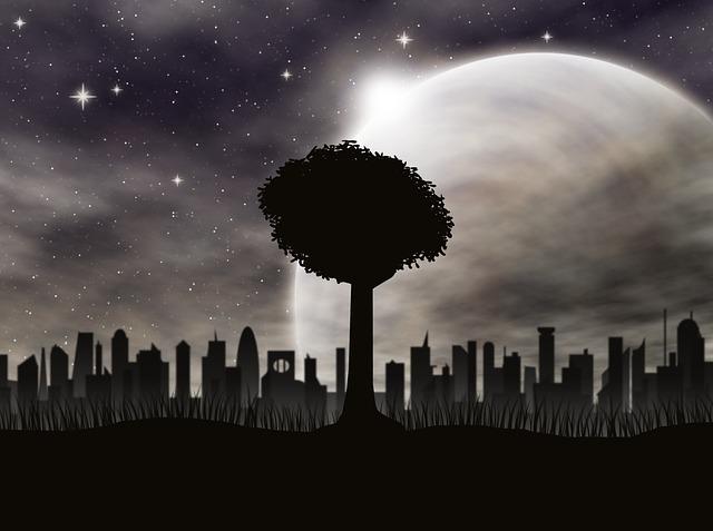 Tree, Starry Sky, City, Silhouette, Landscape