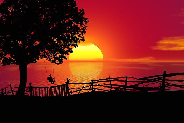 Sunset, Swing, Tree, Sky, Landscape, Silhouette