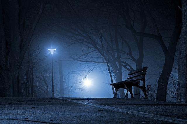 Park, Bench, Night, The Fog, The Darkness, Tree, Glow
