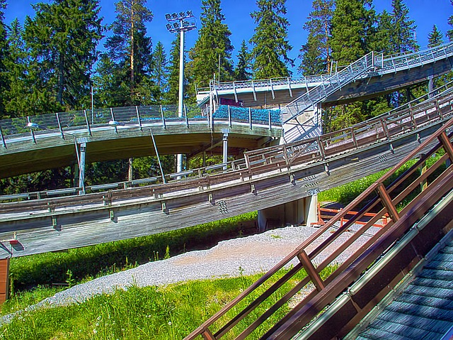 Ski Jumping Hills, Summer, Trees, Blue Sky, Finnish