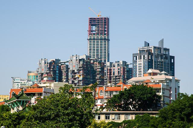 Tall Buildings, House, Red Tile, Trees, China, City