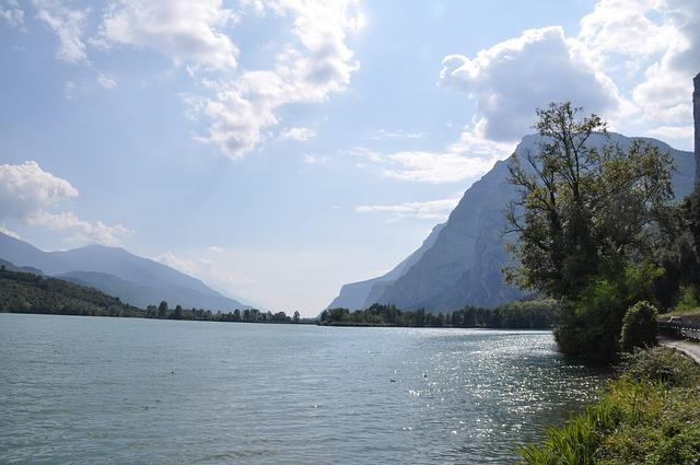 Lake, Nature, Trentino, Italy, Trees, Cliffs, Riverside