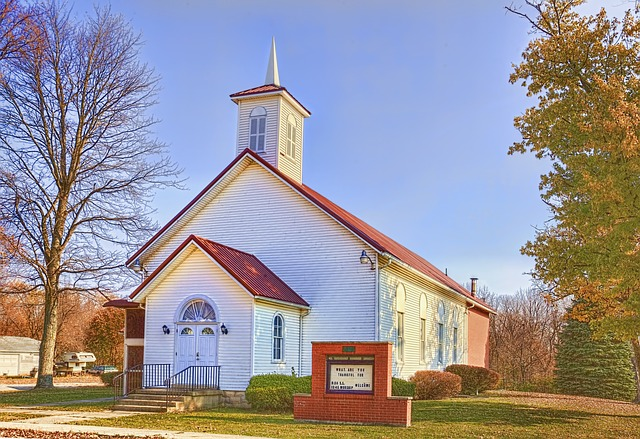 Country Church, Scenery, Trees, Autumn, Fall, Artistic