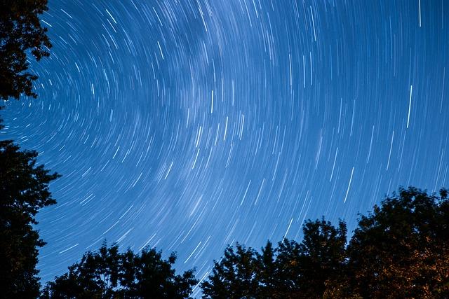 Dark, Nature, Silhouette, Sky, Stars, Time Lapse, Trees