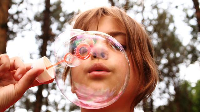 Blow Bubbles, Fun, Trees, Girl, Blowing, Call Bladder