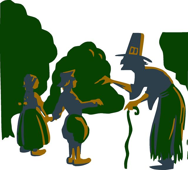 Witch, Hansel, Gretel, Old, Boy, Girl, Kids, Trees