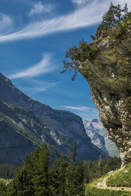 Rock, Mountains, Trail, Trees, Hike, Lake Oeschinen