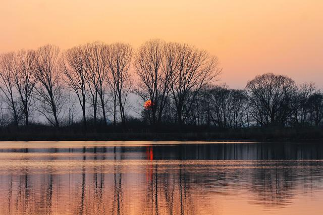 Sunset, Lake, Reflection, Water, Water Surface, Trees
